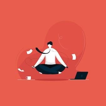 音楽でマインドフルネス瞑想を練習するビジネスマン