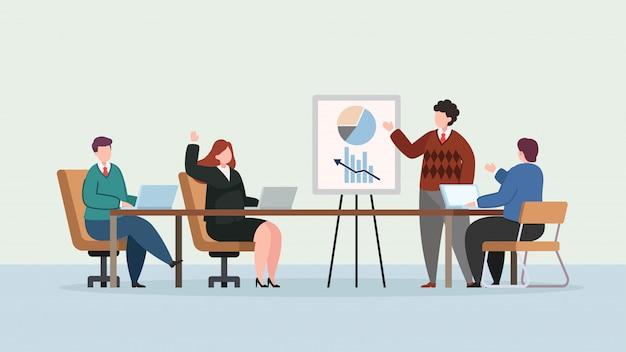 近代的なオフィスの図に実業家プレゼンテーション