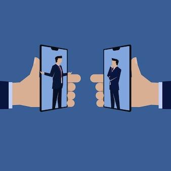 Businessman presentation online reward referral.