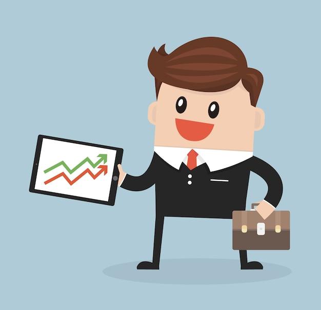Businessman presenting growth flat design vector.