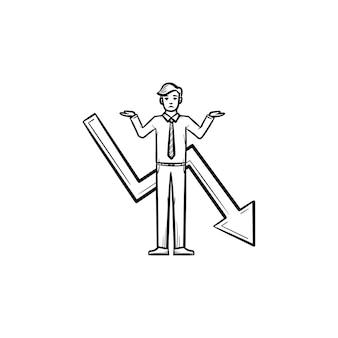 ビジネスマン問題手描きベクトルアウトライン落書きアイコン。白い背景で隔離の印刷物、ウェブ、モバイル、インフォグラフィックのビジネスマンスケッチイラストの失敗。