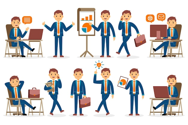 Businessman profession character set