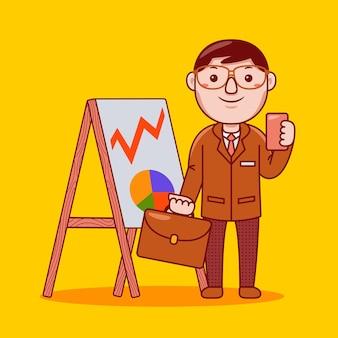 Businessman profession in flat cartoon style