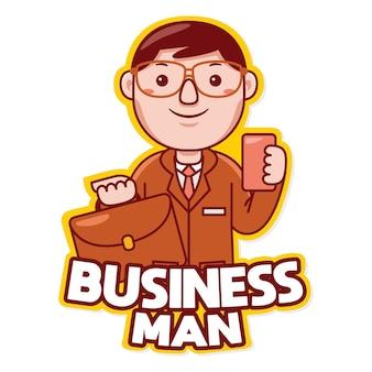 만화 스타일의 사업가 직업 마스코트 로고 벡터