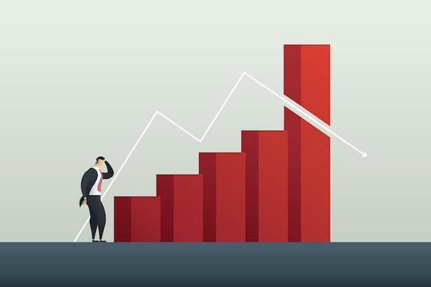 Businessman profit loss and crises