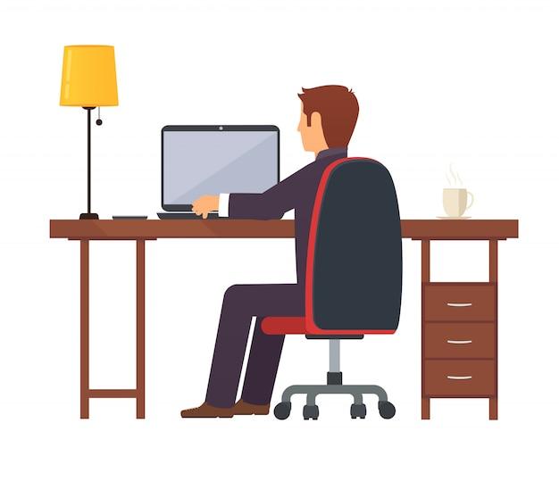 Businessman programmer works