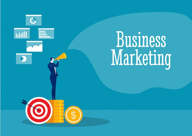 Businessman promote with referral marketing concept