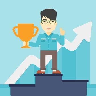 Businessman proud of his business award.