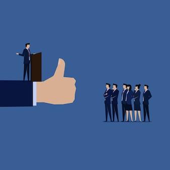 Businessman public speaking with good speech hand like.