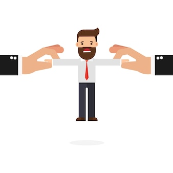 Businessman pulled by two big hand