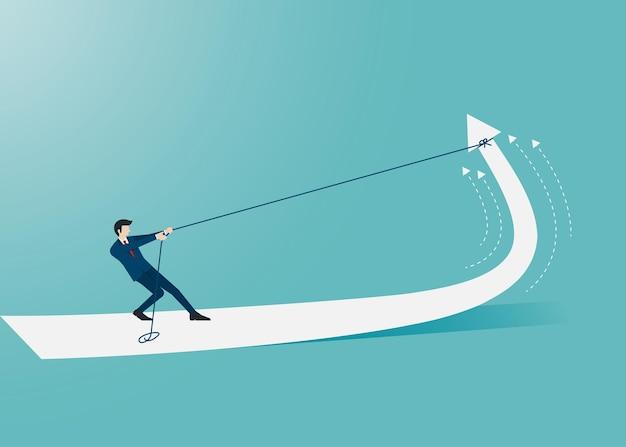 ビジネスマンはロープで矢を引っ張ってそれを持ち上げさせます。マーケティングと財務の概念。成功のシンボル矢印。リーダーシップ、成果、ベクトルイラストフラット