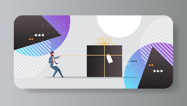 Businessman pulling big gift box with tag christmas new year winter holidays celebration concept horizontal flat full length vector illustration