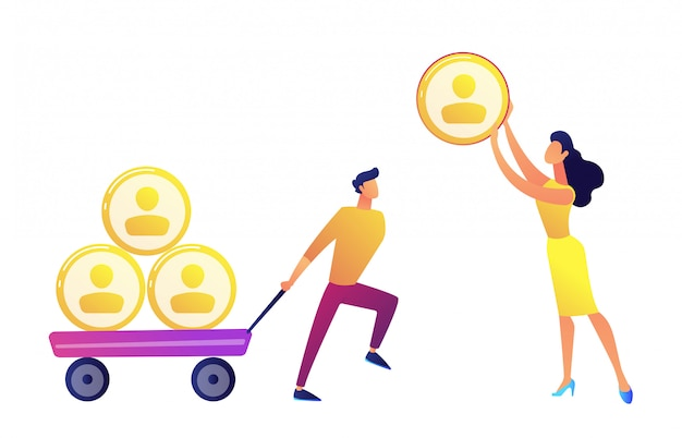 Businessman pulling cart with people profiles pyramid and woman giving one vector illustration.