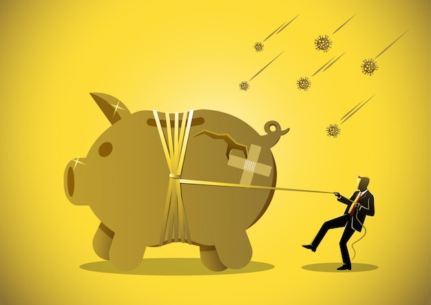A businessman pulls rope to tide piggy bank around, corona virus crisis or savings in pandemic concept