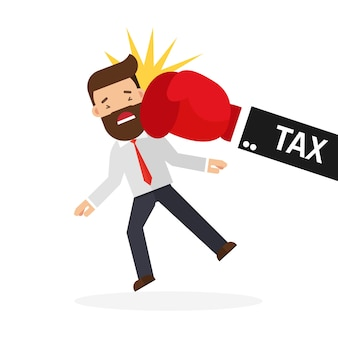 Businessman punch by tax hand