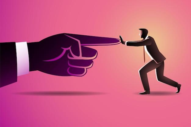 ビジネスマンは巨人の人差し指を指すことに対してプッシュ
