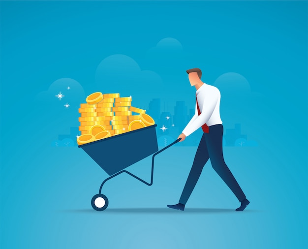 Businessman push cart full of gold coins