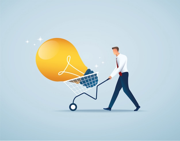 Businessman push cart full of light bulb