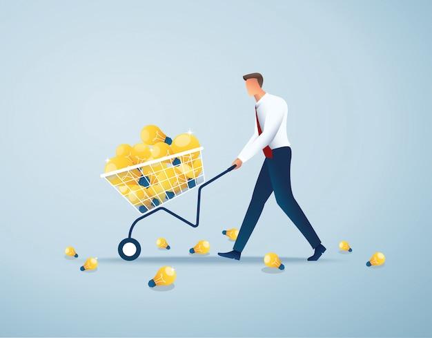 Businessman push cart full of light bulbs,