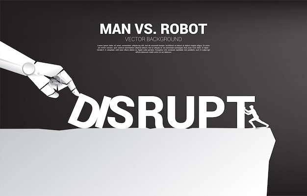 Businessman push the domino to fight with robot hand. business concept of disruption of a.i. to make the domino effect.