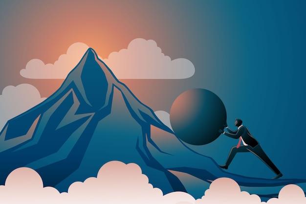 Бизнесмен толкает огромный мяч в гору