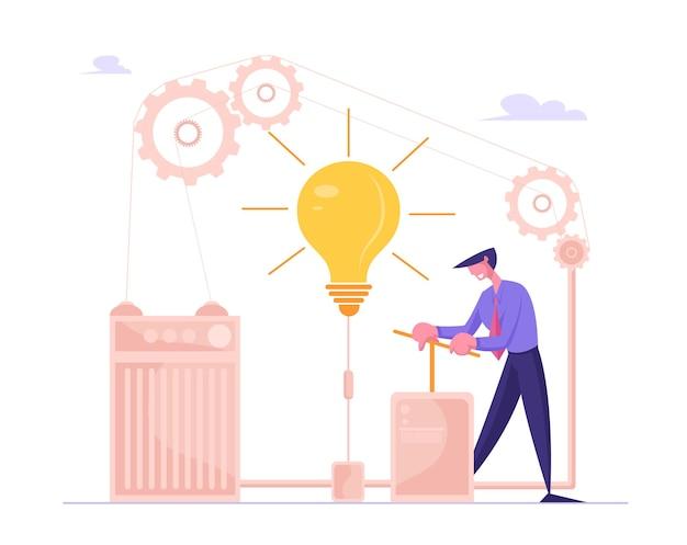 Бизнесмен толкает огромный рычаг, чтобы включить лампочку внутри сложного механизма