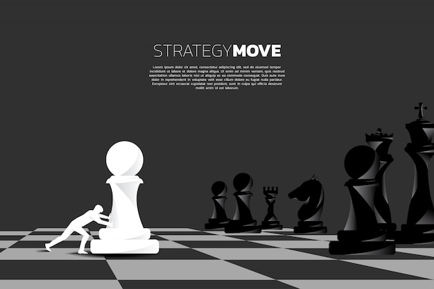 Businessman push pawn chess piece to chessboard.