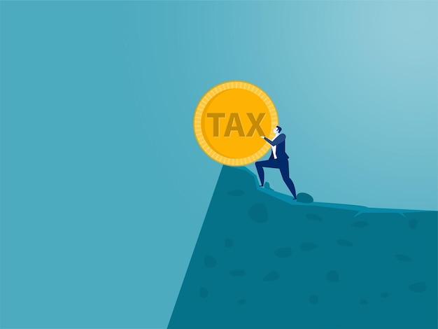 ビジネスマンは、丘の上から税金という単語をプッシュします。青い背景、ベクトル図