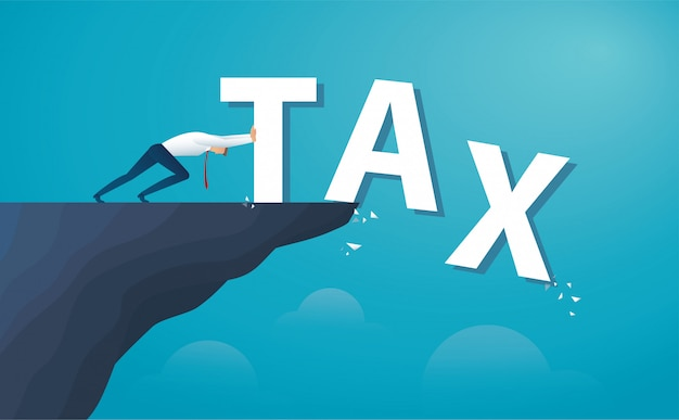 Businessman push the word tax from the top of the hill