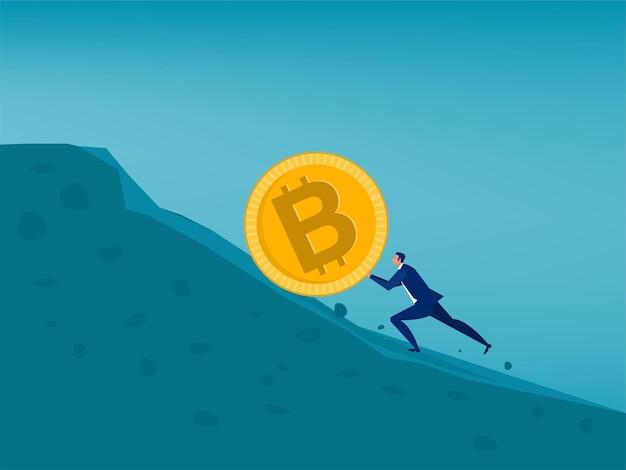 사업가 bitcoin 가격 상승 개념을 밀어