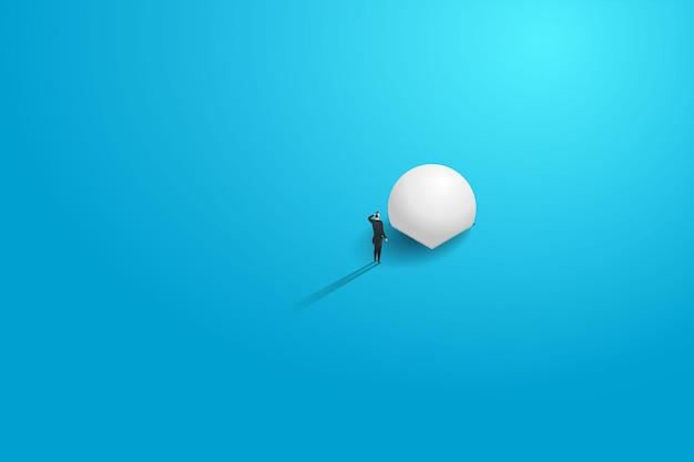 바위를 밀고 있는 사업가가 목적지와 일치하지 않습니다. 개념 그림 벡터입니다.