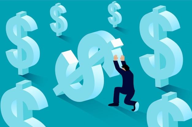 Businessman pushing dollar money up