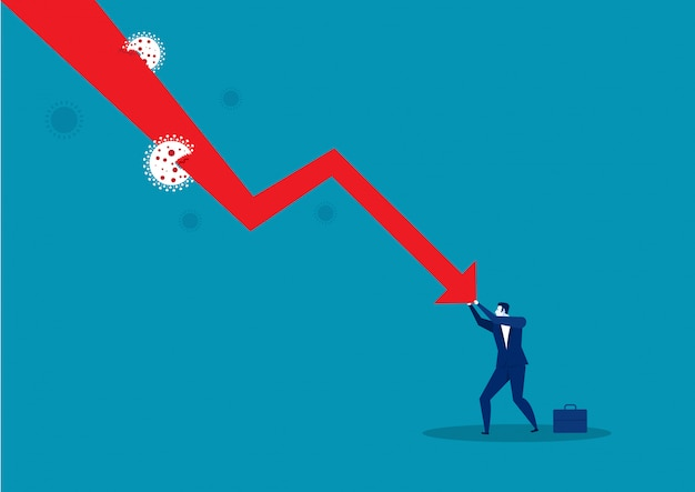 Businessman pushing falling graph down.situation coronavirus