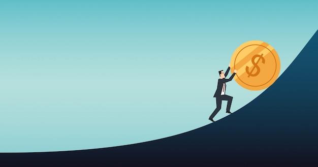 Бизнесмен толкает золотую монету доллара над графиком в плоском дизайне иконок с диаграммой и синим цветом фона