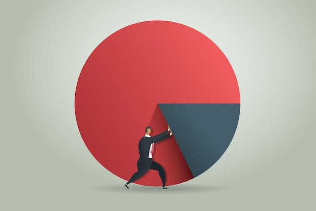 Businessman pushing graph up to the target goal and success on pie chart