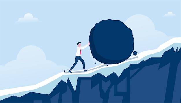 重い石の上り坂のイラストを押すビジネスマン