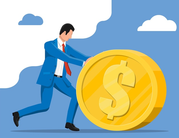 Businessman pushing large golden coin. businessman with big gold coin with dollar sign. growth, income, savings, investment. symbol of wealth. business success. flat style vector illustration.