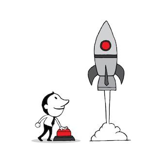 Бизнесмен нажал кнопку запуска для запуска ракеты