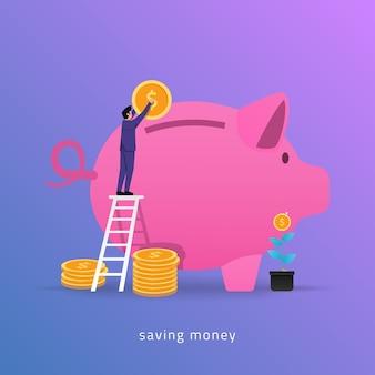 ビジネスマンはお金を節約するために貯金箱の概念にコインを入れました