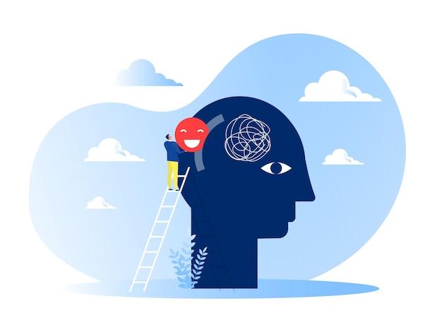 Бизнесмен положил знак позитивного мышления на концепции человека большой головы.
