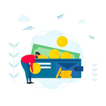 Businessman putting big dollar coin in wallet. investment financial concept. business people increasing capital and profits. wealth and savings with characters. earnings money