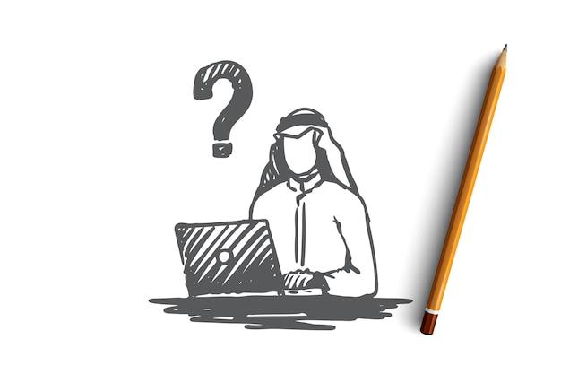 ビジネスマン、質問、イスラム教徒、アラブ、イスラム教、問題の概念。問題の概念スケッチについて考えている手描きのイスラム教徒の実業家。