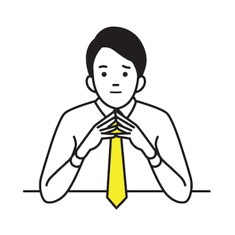 Businessman raised and steeple hands