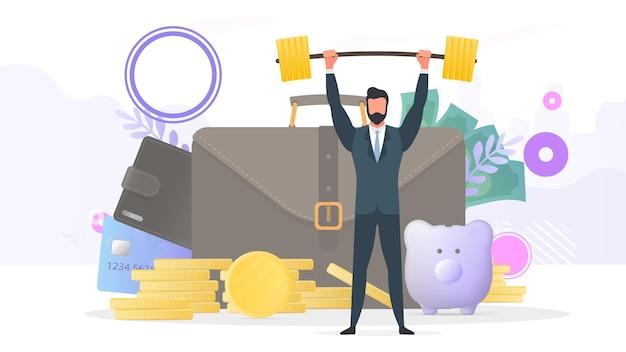 ビジネスマンは、クレジットカードと金貨でポートフォリオの背景にバーベルを上げます。貯蓄とお金の蓄積の概念。プレゼンテーションやビジネス記事に適しています。