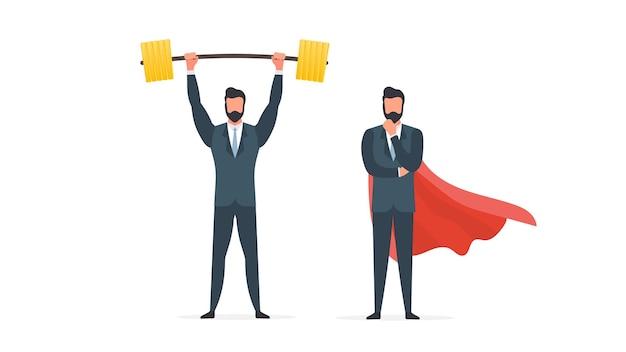 Бизнесмен поднимает штангу с золотыми монетами. мужчина в костюме со штангой. концепция успешного бизнеса и роста доходов. изолированный. вектор.