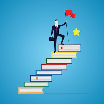 Businessman reach achievement by education. man conquering top position of books ladder, knowldedge concept