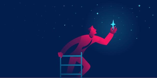 Бизнесмен достигает звезды. достижение цели бизнеса