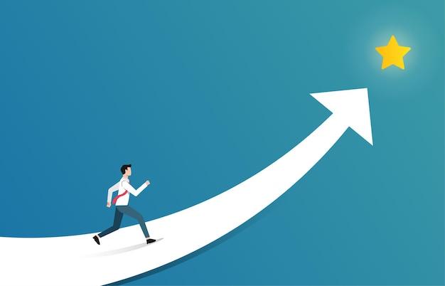 스타 그림을 밖으로 도달하는 사업가. 비즈니스 및 경력 성장 상징의 성공.