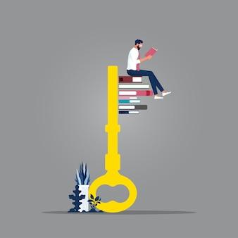 Бизнесмен читает книги, ключевую часть которых составляют книги, знания - ключ к метафоре успеха