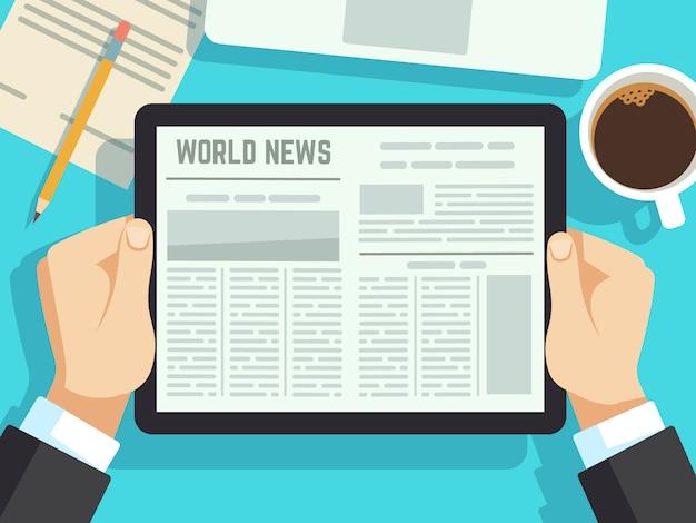 テーブルの上のニュースを読むビジネスマン。オンライン新聞、日刊誌。